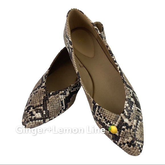 H&M Snake print flats shoes Sz.39 = 8 in US